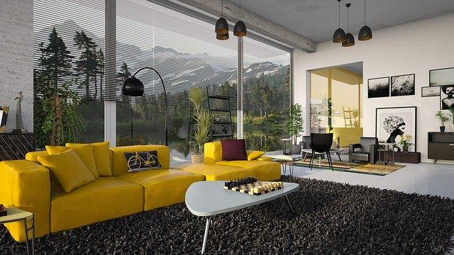 séjour moderne avec canapé et tapis